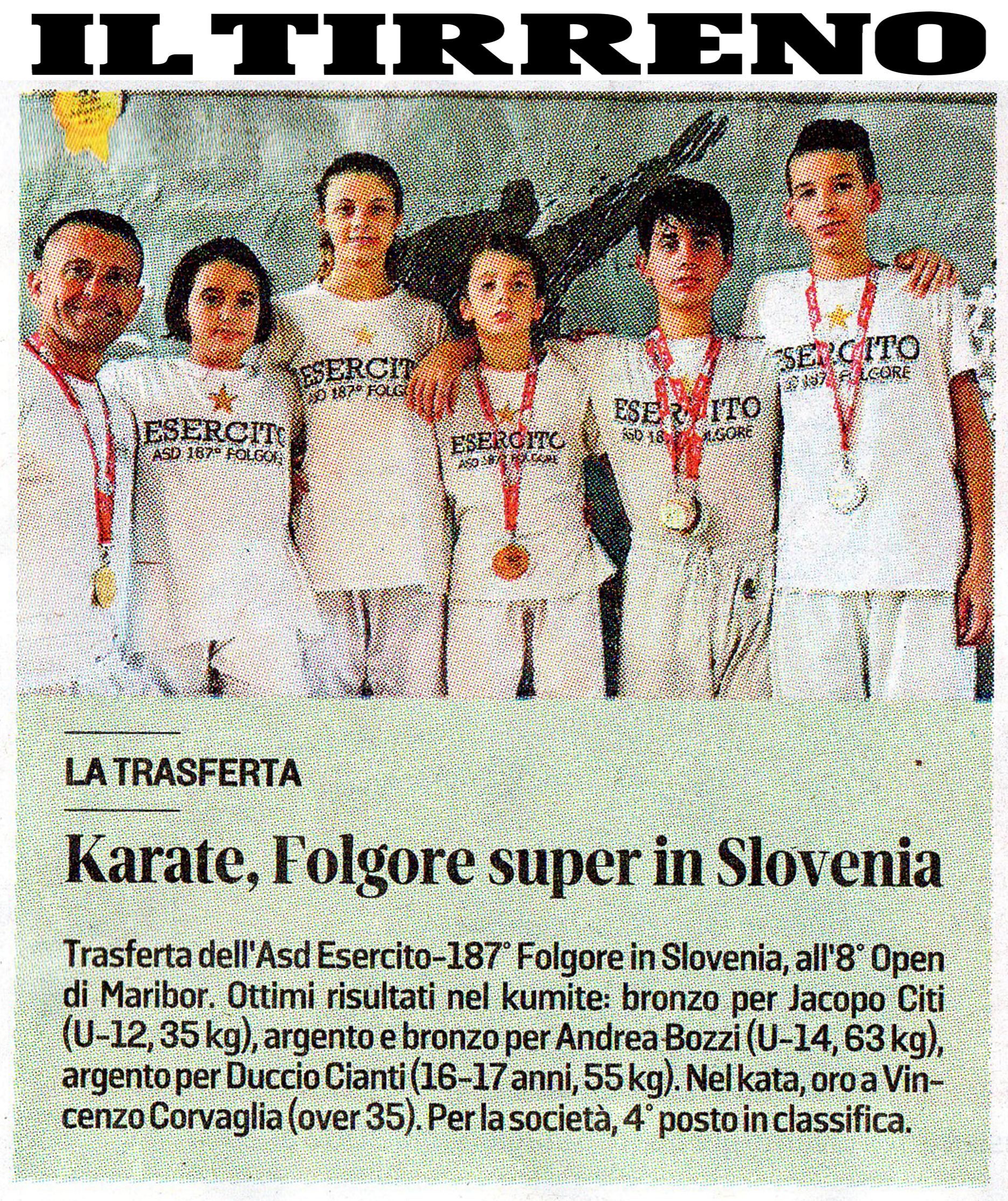 """""""IL TIRRENO"""": KARATE, FOLGORE SUPER IN SLOVENIA"""